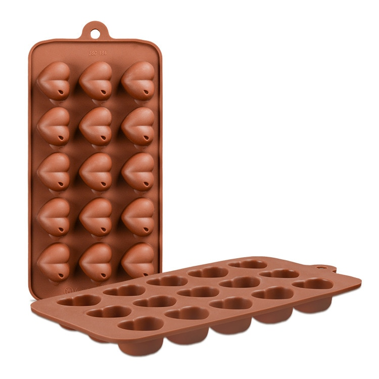 15 Grid Heart Shaped Chocolate Silicone Mold DIY Heart Shaped Candy Fudge Mold Cake Decoration Accessories Kitchen Tools