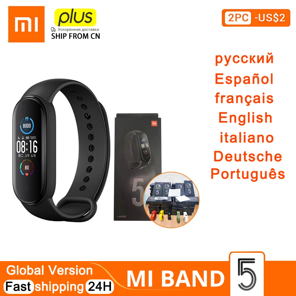 Global Version New Xiaomi Mi Band 5 Smart Bracelet 4 Color AMOLED Screen Miband 5 Fitness Traker Bluetooth Smartband miband 5