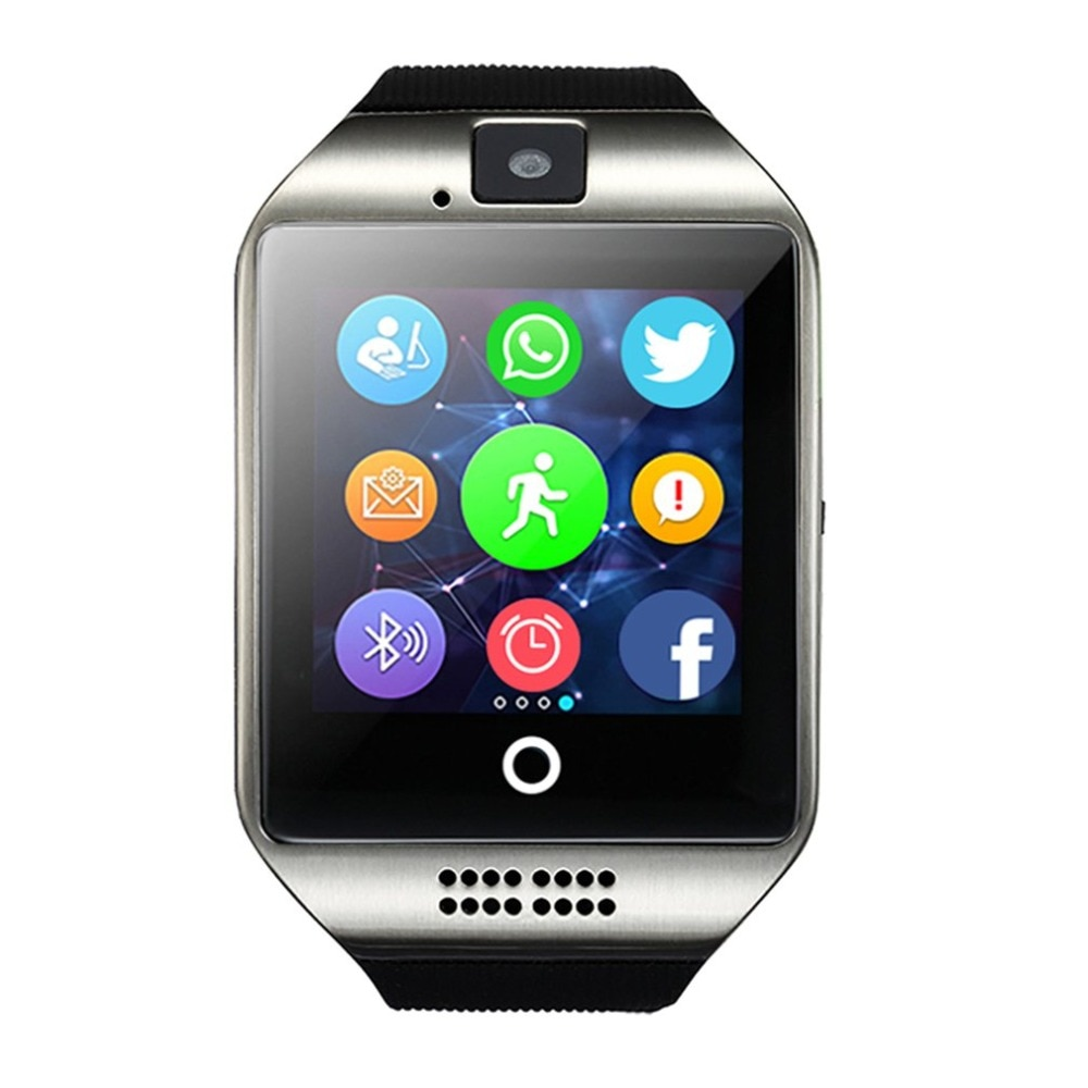 Q18 بلوتوث دعوة ساعة ذكية مع حامل شاشة تعمل باللمس كاميرا الرياضة اللياقة البدنية النوم المقتفي مراقب معدل ضربات القلب Smartwatch