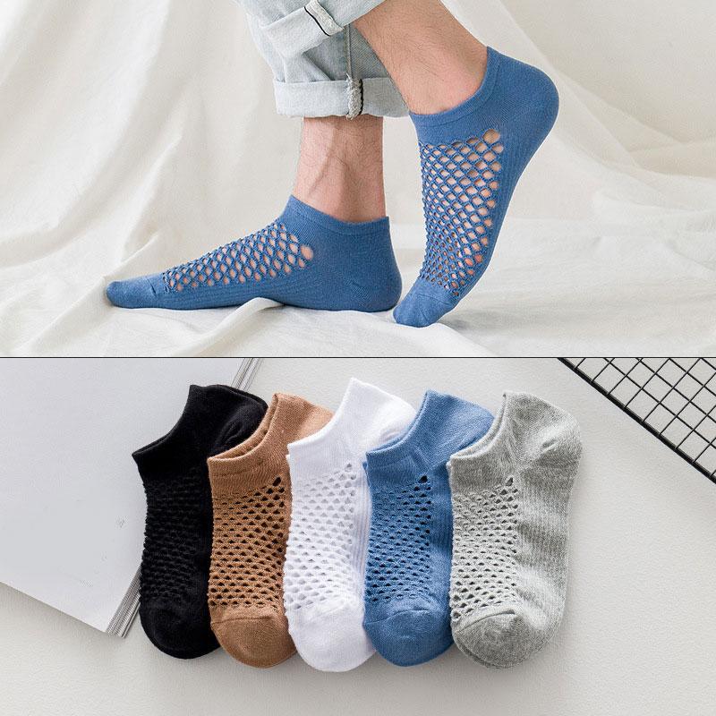 Дышащие сетчатые носки, мужские летние повседневные однотонные тонкие короткие носки, поглощающие пот Мягкие хлопковые носки-лодочки, высо...
