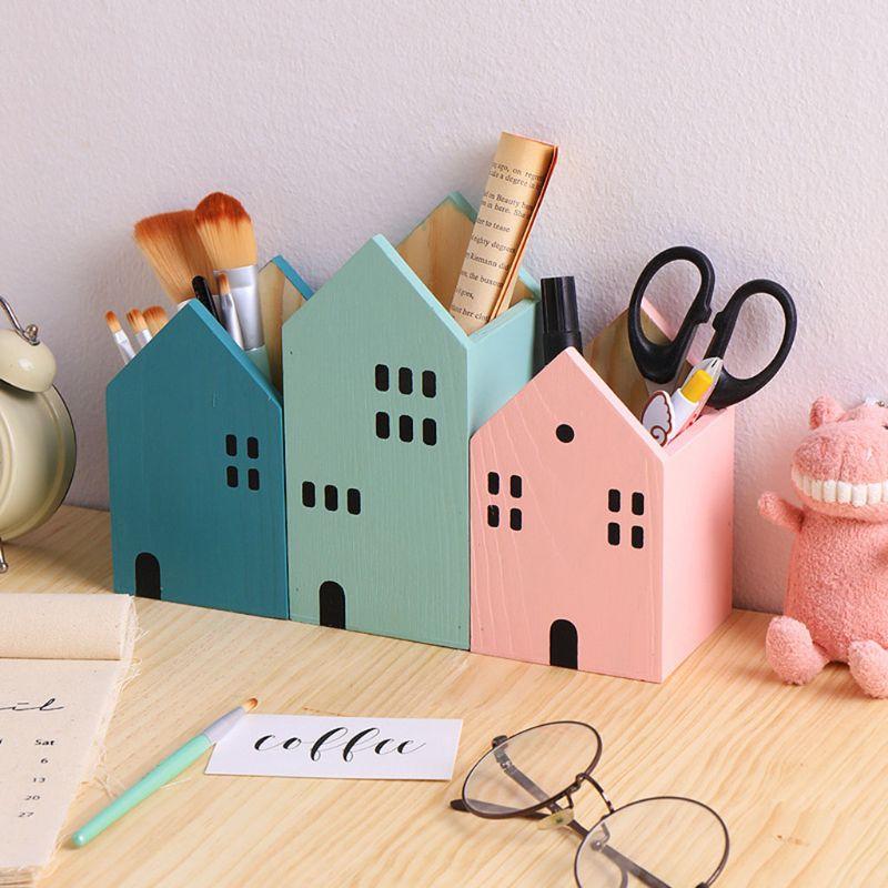 1 Pc Creative House Shape Wooden Pencil Pen Holder Desktop Organizer Container Brush Pot Stationery School Office Supplies