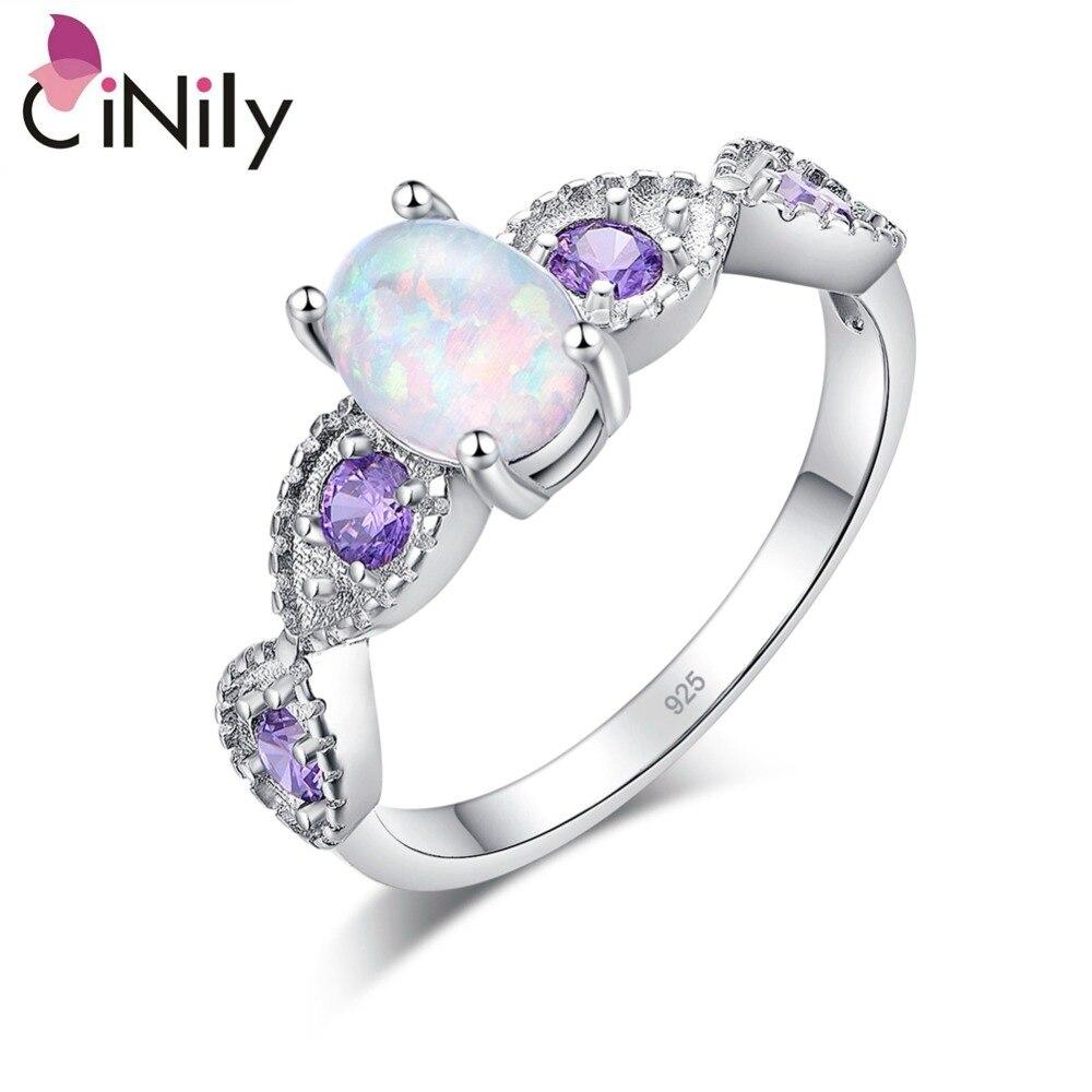Кольца CiNily White Fire Opal овальные, с серебряным покрытием, Лилового, фиолетового, циркониевого цвета, для помолвки и свадьбы, Полностью украшенные камнями, для женщин в стиле бохо