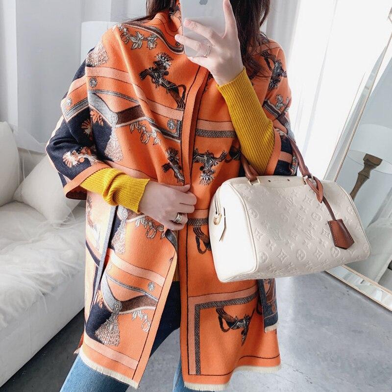 Femmes marque cachemire écharpe hiver chaud Pashmina châles et enveloppes de luxe cheval impression chaîne dame foulards épais couverture Foulard
