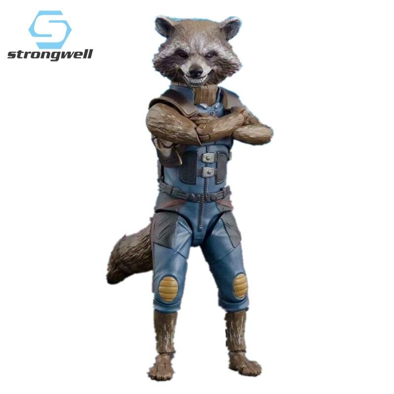 Strongwell cohete mapache muñeca figurita figuras de acción galaxia guardia mapache Groot decoración del hogar niños juguete lindo regalo