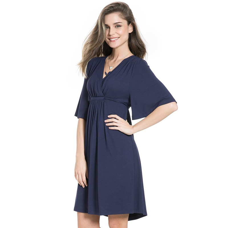 Plus Size Pregnant Dress Cotton White & Blue Maternity Dress Summer Dress Loose Medium Length Big Size Maternity Dress 1701669 enlarge