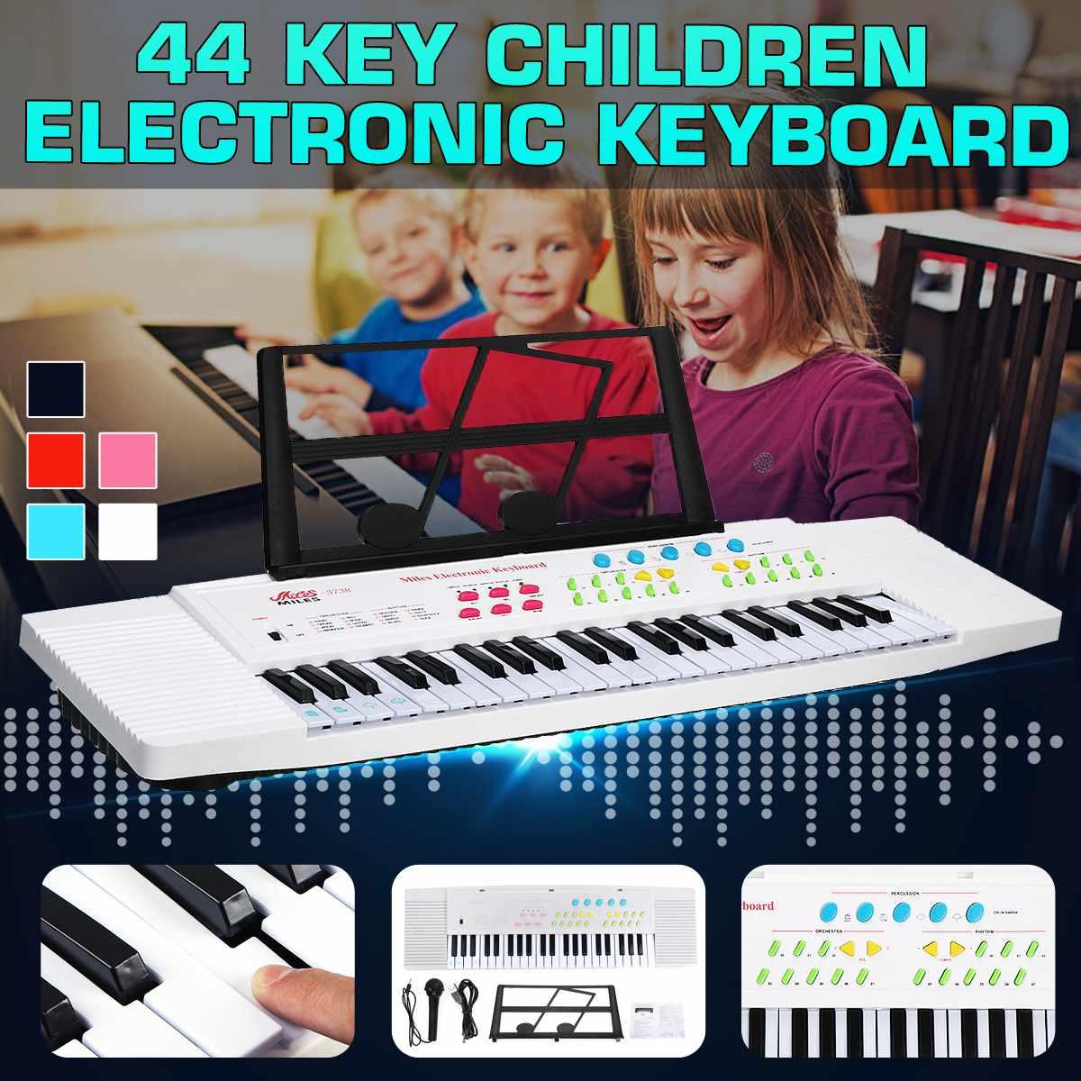 Teclado Digital electrónico de 44 teclas Piano con Mini micrófono soporte de música para niños iluminación musical