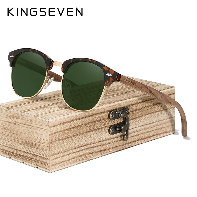 KINGSEVEN Retro Fashion Style Handmade Black Walnut Wooden Sunglasses Men Women 100%Polarized UV400