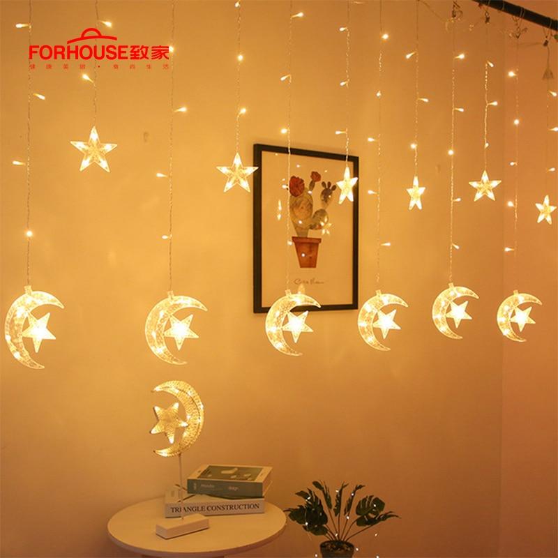 Estrela da lua led luz corda eid mubarak ramadan decoração islâmica muçulmano festa decoração eid al adha ramadan e eid decoração