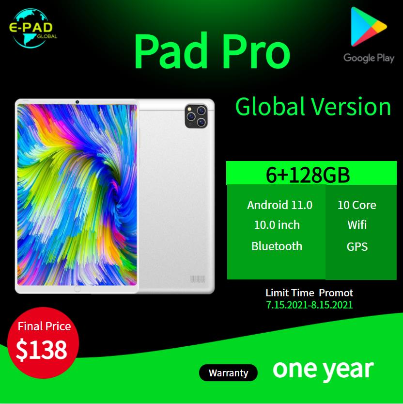 Global VersionTablet 10.1 inch Android 11.0 6GB RAM 128GB ROM 4G FDD LTE WiFi Bluetooth GPS 6000mAh