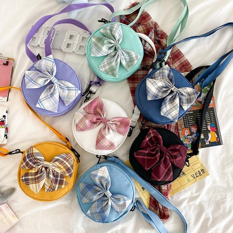 Молодежные сумки через плечо для девочек, холщовые круглые сумки с большим бантом для подростков, новинка 2020, милая сумка-Кроссбоди для поку...