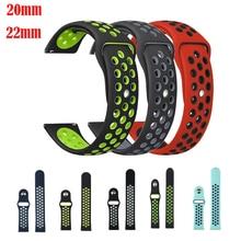 Bande Sport 18 20 22mm pour samsung galaxy active s2 s3 huami amazfit 1/2 s/pace bip huawei 2 montre bracelet Silicone classique GT Pro