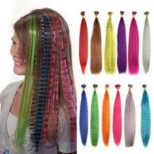 WIGSIN-plumas postizas sintéticas para extensión de cabello, accesorios de fiesta para mujeres o niñas, colores del Arcoíris