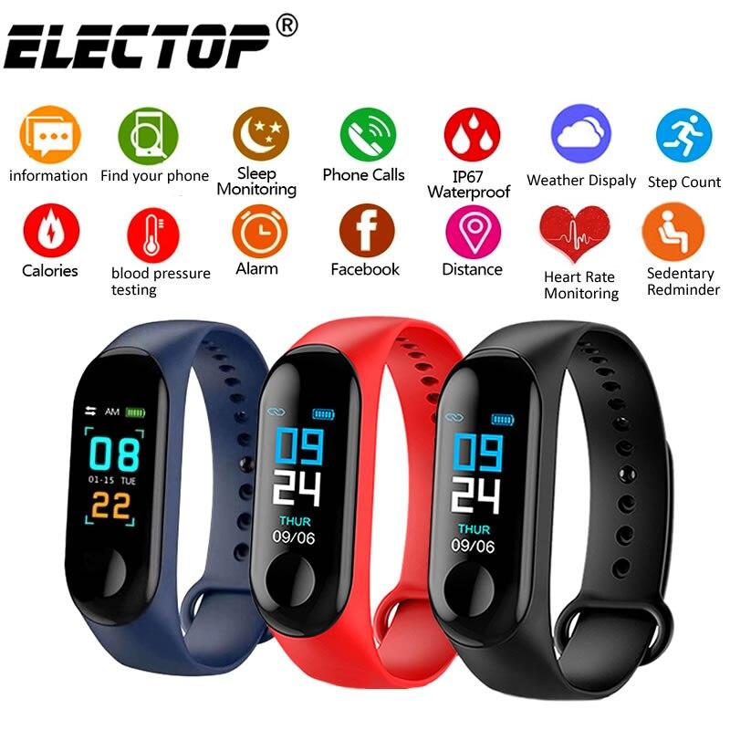 M3 Plus Smart Bracelet Heart Rate Blood Pressure Health Waterproof Smart Watch M3 M4 Bluetooth Watch Wristband Fitness Tracker
