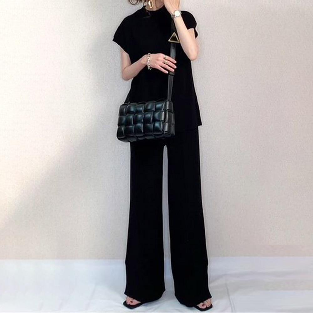 Women Two Pieces Sets Basic Black T-shirt Wide Legs Pants Set Fashion Solid Loose Suits Summer 2021 Korean Casual Simple Suits