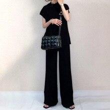Women Two Pieces Sets Basic Black T-shirt Wide Legs Pants Set Fashion Solid Loose Suits Summer 2021