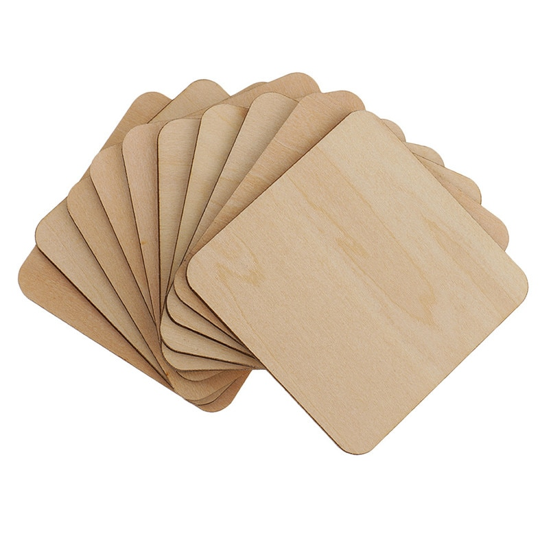 AliExpress - 20pcs 50mm 1.96inch Wood Craft Unfinished Blank Coasters 5 X 5CM for Craft Projects