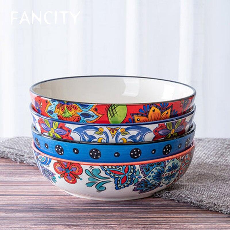 FANCITYAmerican رسمت باليد ريفي السيراميك أدوات المائدة طبق عميق الحساء طبق المعكرونة عاء عصيدة عاء حار المقلي طبق الخضار