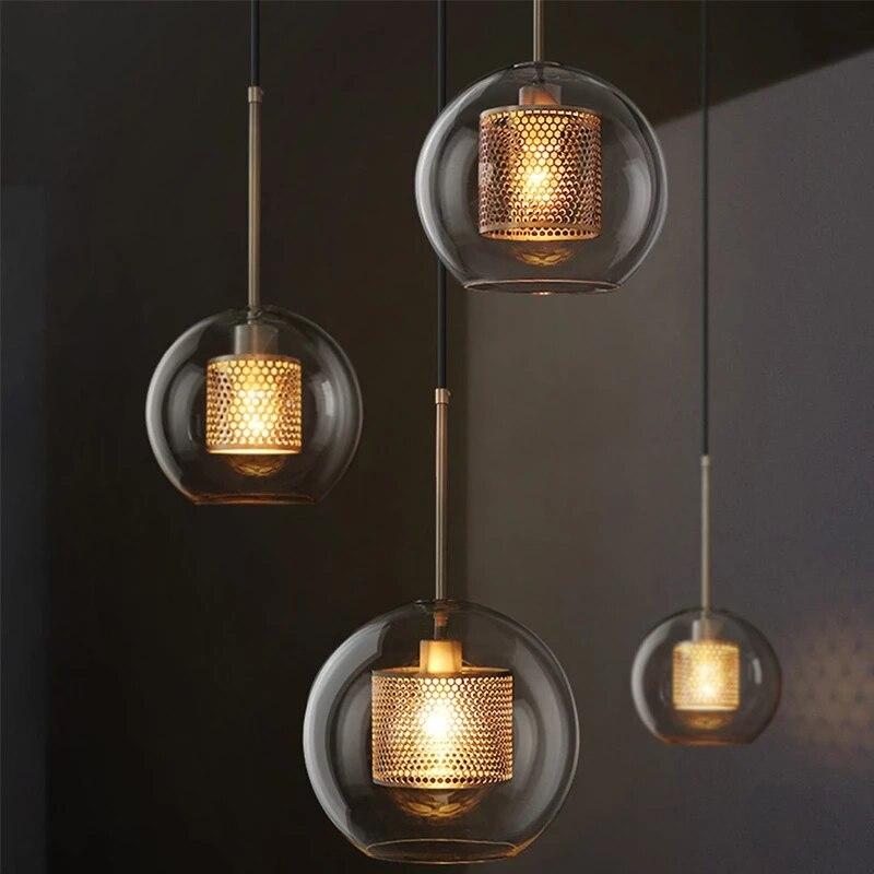 Винтажные подвесные светильники в стиле индастриал, железная стеклянная лампа для спальни, столовой, бара, декоративное освещение в стиле л...