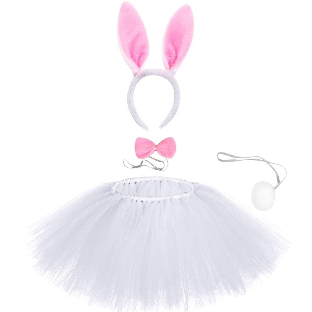 Falda blanca de tutú de conejo para niñas pequeñas, conjuntos de falda de tul de conejito de Pascua para niños, trajes de fiesta de cumpleaños y vacaciones, Tutús de baile
