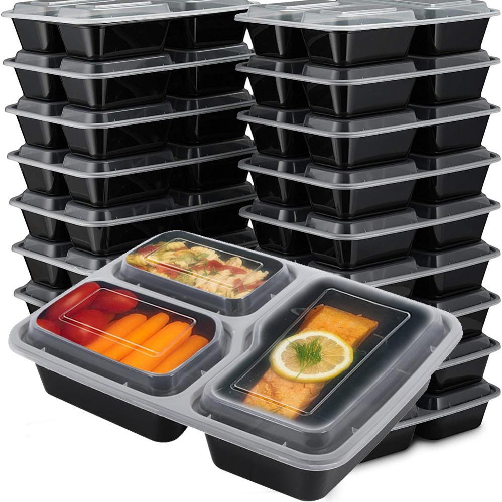 20 قطعة الغذاء تخزين علب لحمل الغذاء الميكروويف آمنة مع الأغطية في الهواء الطلق المحمولة بينتو صندوق البلاستيك أوعية لحفظ الوجبات الرئيسية ا...