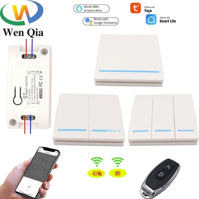 Wenqia WiFi/433Mhz inteligente interruptor de la luz de Control remoto inalámbrico 1/2/3 bandas receptor de relé rf AC85-220V control LED/luz/lámpara
