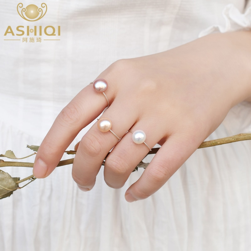 ASHIQI Real Natural Freshwater Pearl Ring 925 Sterling Silver Jewelry Ladies Fashion