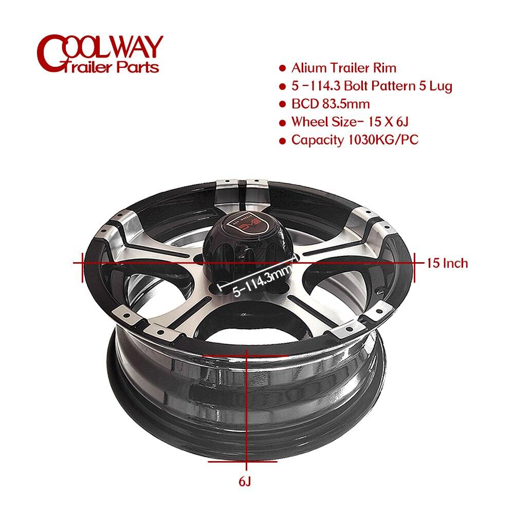 15 Inch X 6J Alium Trailer Rim 5 - 114.3 Car Bolt Pattern Capacity 1030KG ET0 Caravan Boat RV Parts Accessories enlarge