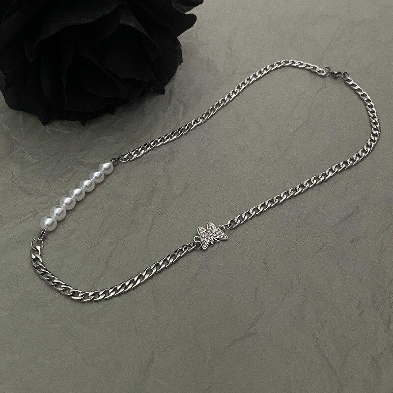 Collar para mujer, collares de mariposa para mujer, Joyas de perlas artificiales, diseño de damas, Color plata, moda, fiesta, aleación, Naszyjnik