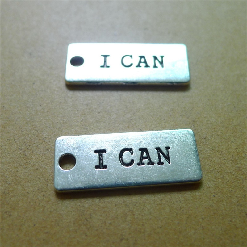 10 Letter I CAN Charms 10*24MM Metal Oblong Charms DIY Jewelry Accessories  - buy with discount
