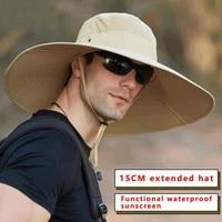 high quality 15cm big wide brim mens fisherman hat solid waterproof sun hat mountaineering cap fishing cap panama hat unisex