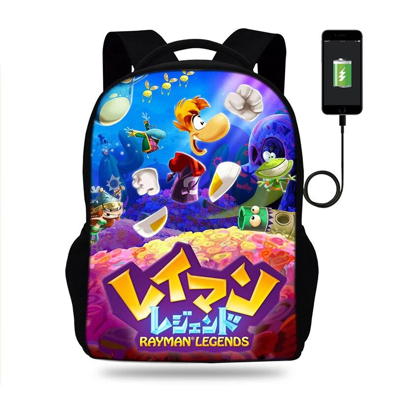 Polegada Rayman legends 17 aventuras PORTA USB Mochilas Dos Homens Mochila Para Os Meninos Adolescentes Meninas Mochilas Escolares Laptop Mochilas Diárias