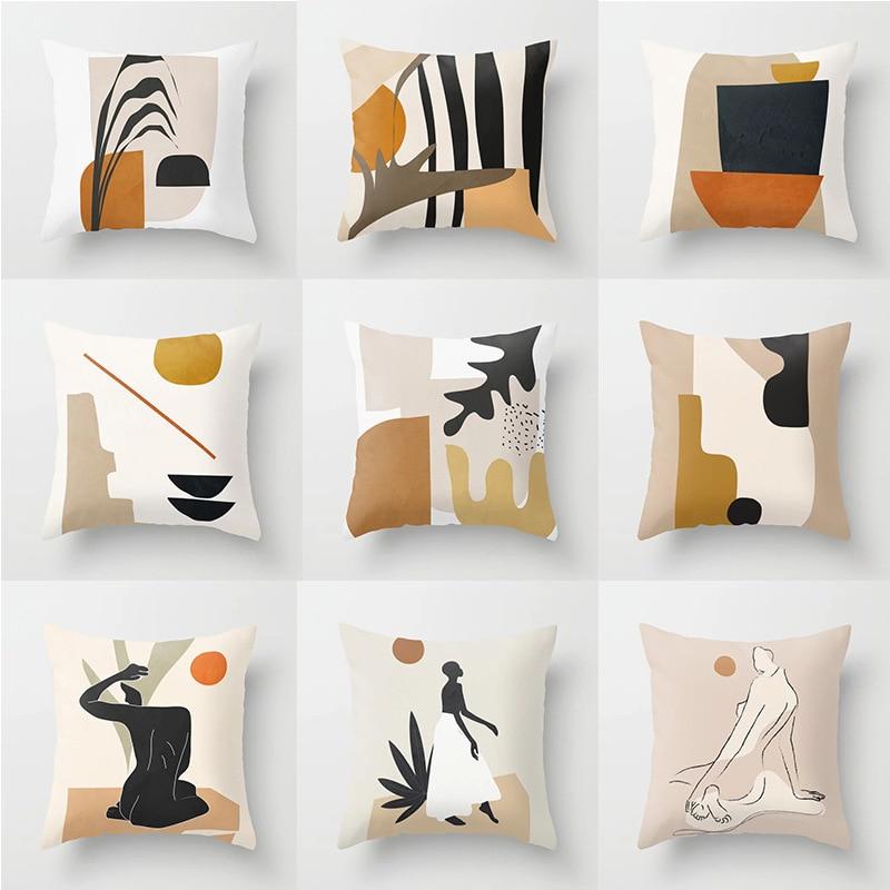 Модный чехол с художественным принтом, мягкая подушка, чехол s 45x45 см, красочная подушка, чехол, абстрактный геометрический супер короткий ба... чехол