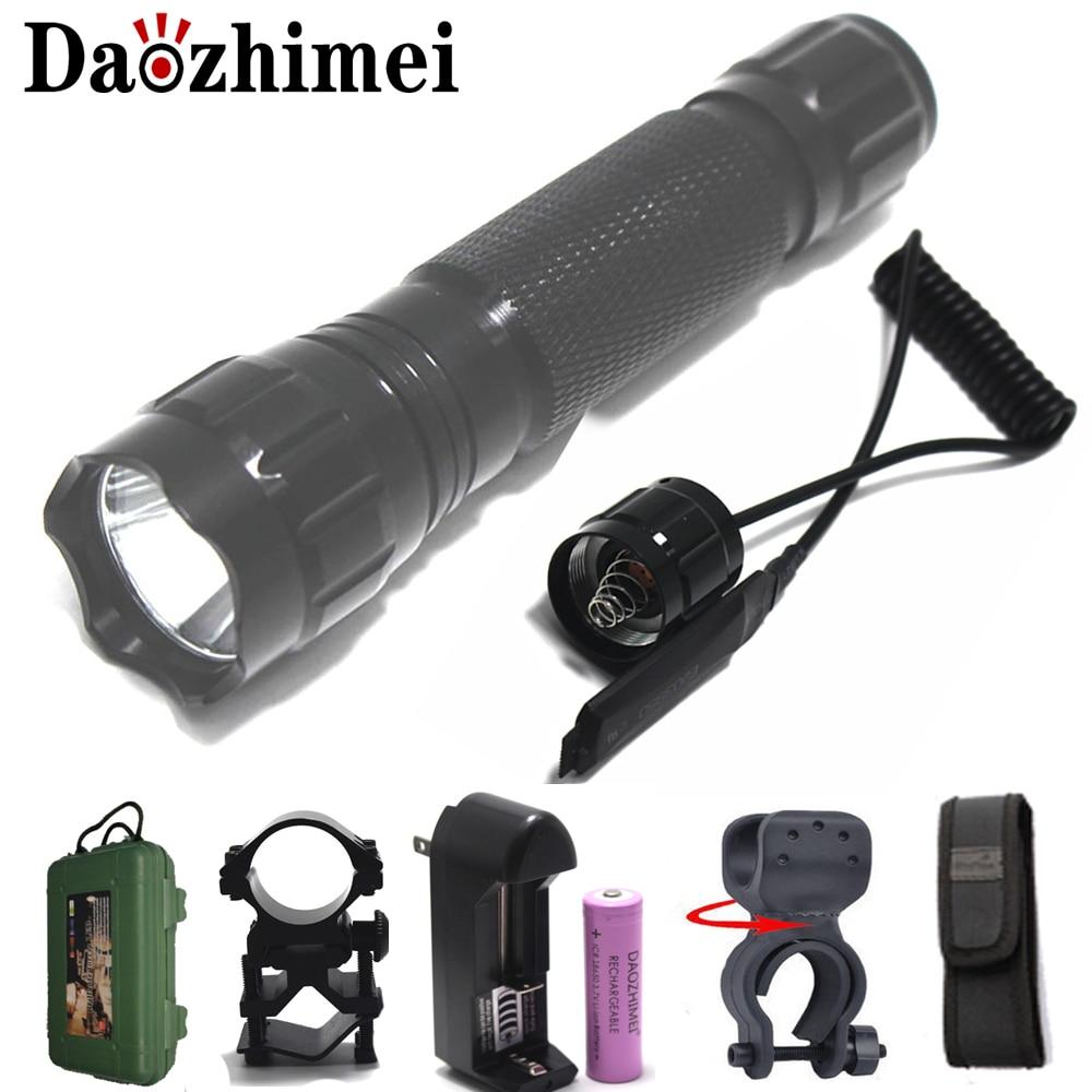 flash light 3800LM XM-L L2 T6 LED Torch Hunting Light lanterna +18650 Battery +Charger+Pressure switch+Mount