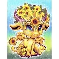 Peinture diamant theme dessin anime Dragon fleur  broderie complete 5D bricolage faire soi-meme  perles carrees ou rondes  strass  mosaique  decoration dinterieur  point de croix
