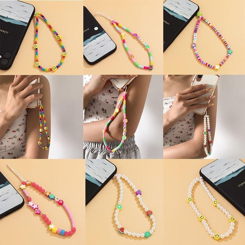 Модная яркая цепочка Kiwiberry ручной работы в стиле Ins с улыбающимися бусинами, акриловая цепочка с жемчугом, цепочка с буквами для телефона
