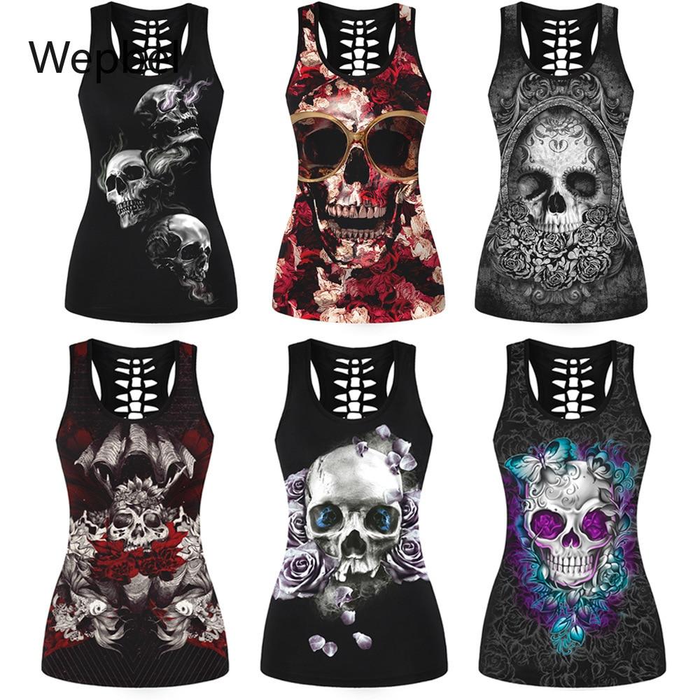 Wepbel, moda para mujer, estampado de calavera recortado en la espalda, camiseta sin mangas de verano con gráficos, camiseta gótica ajustada, camiseta, chaleco de talla grande