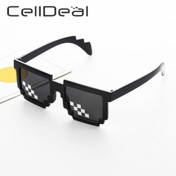 Celldeal men women 8 bit codificação pixel thug vida mosaico óculos de sol na moda legal super festa engraçado do vintage tons eyewear