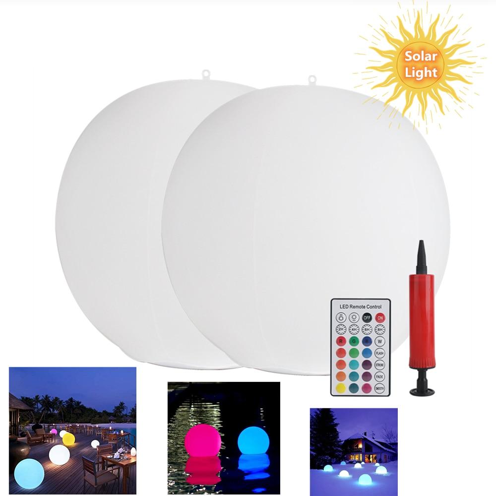RGB 16 Color LED Solar Lights Floating Pool Lamp IP67 Waterproof Ball Lighting Hot Tub Night Lights Pool Toys Outdoor Garden