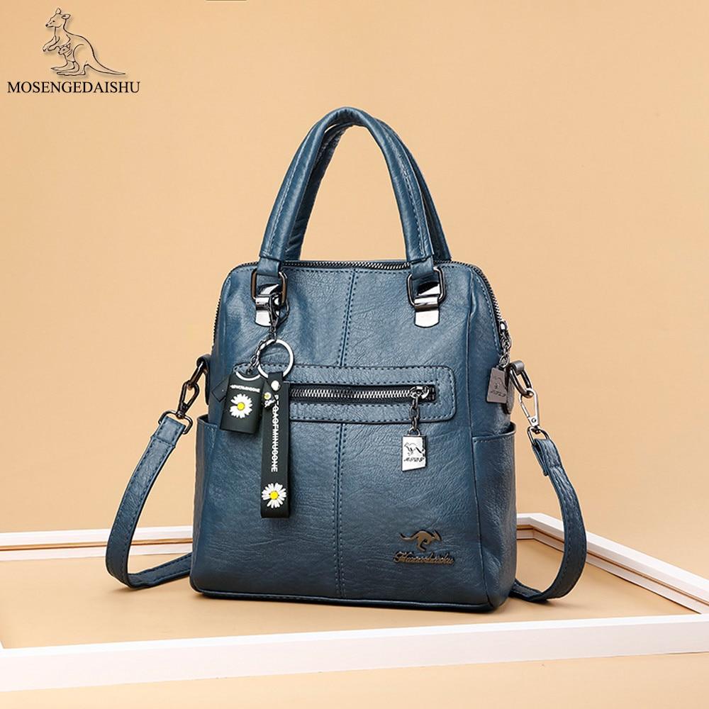 Fashion Women's Backpack Double Zipper Vintage Girls Book Bag Designer Luxury Lady Backpack High Quality Leather Travel Mochila