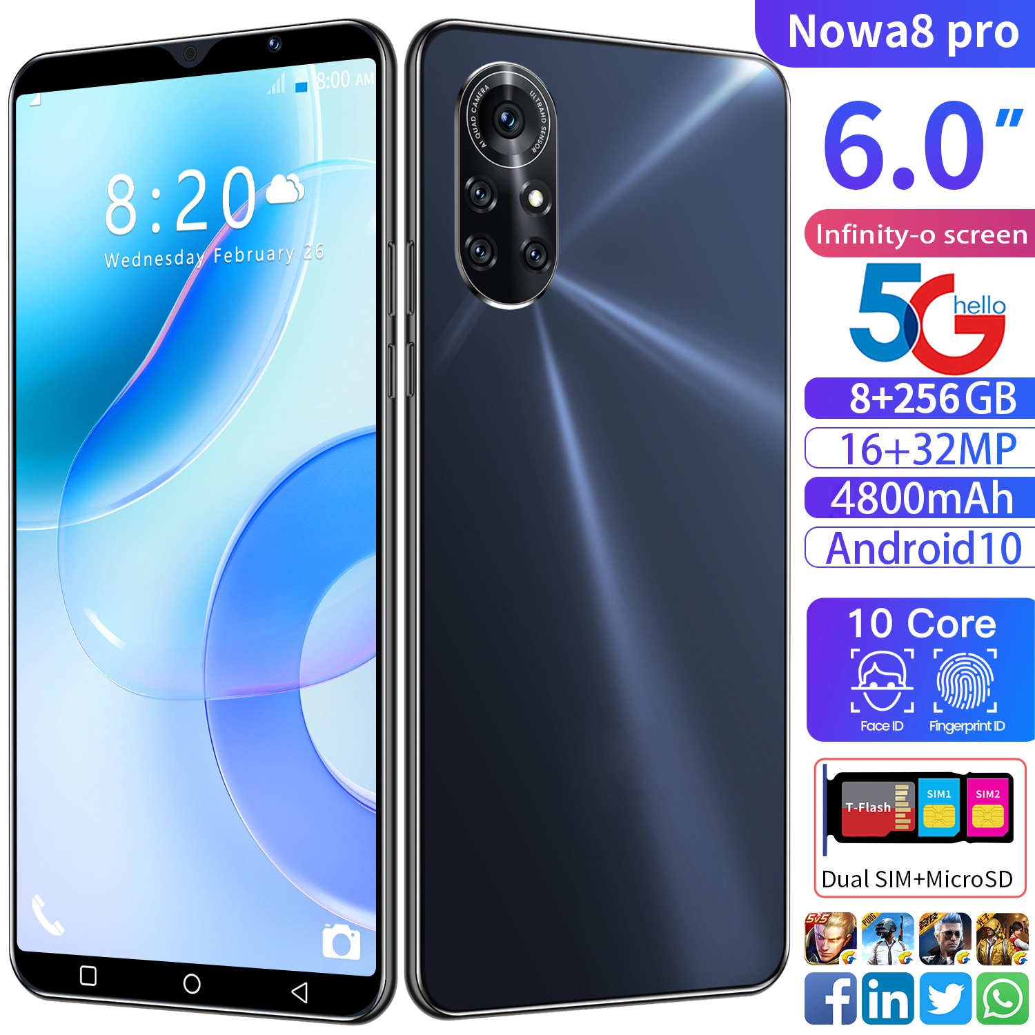 2021 Global Version Nowa8 Pro Smartphones 6.0Inch Dual SIM 8 256GB 4800mAh 16+32MP Android 10 Core 4G 5G LTE MTK6889 MobilePhone
