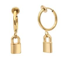 Círculo redondo chunky hoop brincos de prata brinco de ouro grandes aros bloqueio brincos para mulheres grande cadeado earings jóias