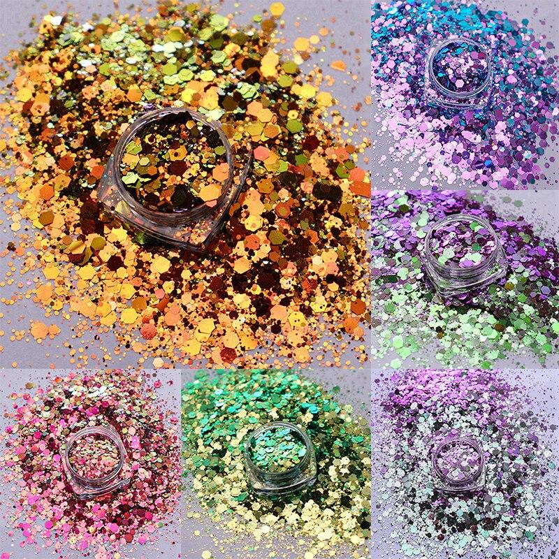 10g cambio de Color camaleónico mezcla gruesa hexágono uña Glitter decoración para uñas vasos DIY artesanía accesorios para Festival