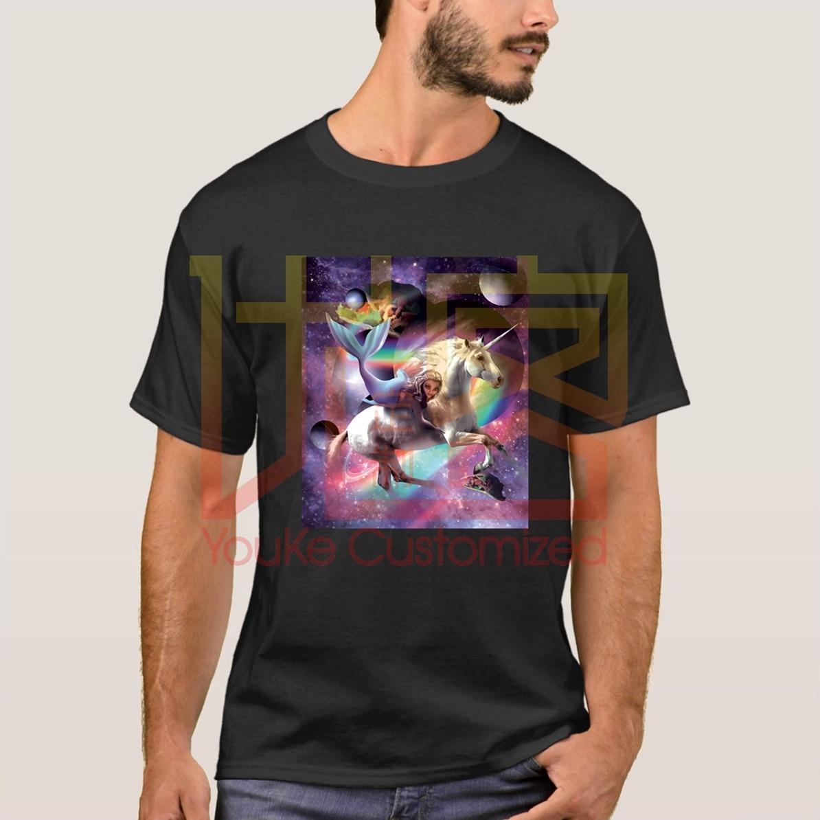 Camiseta Space Mermaid Riding unicornios-Tacos y arcoíris, regalo divertido, 100%, camiseta de manga corta de algodón