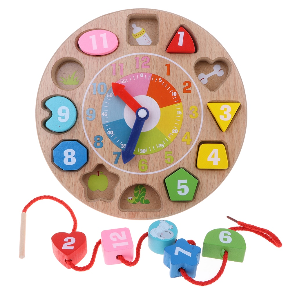 Wooden Digital Clock Color Shape Sorting Toy Kids Educational Toy for Boy & Girl