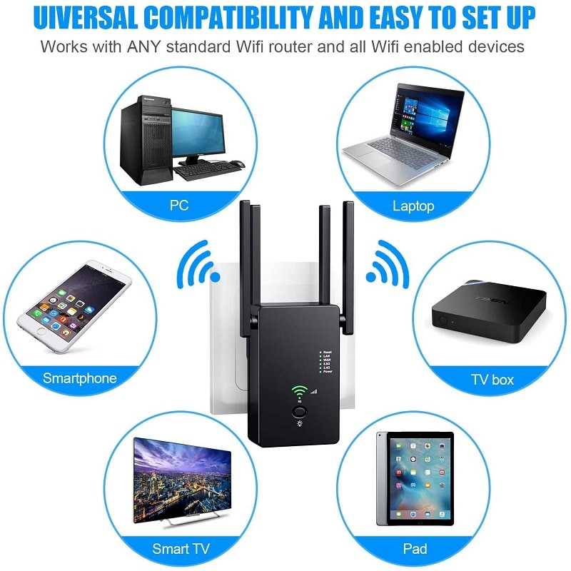 Stable Wireless AC1200Mbps 2.4G / 5G WiFi Repeater Extender Signal Booster WPS Encryption 4 Antennas Router To Smart Home Device enlarge