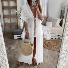 Sexy femmes en mousseline de soie Kimono plage Cardigan Bikini couvrir hauts longue robe Maxi Boho solide 2020 été maillot de bain maillots de bain