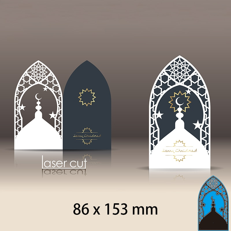 Cutting Dies 3D Postcard Layout with Islamic Oriental Pattern DIY Scrap Booking Photo Album Embossing Paper Cards 86*153mm