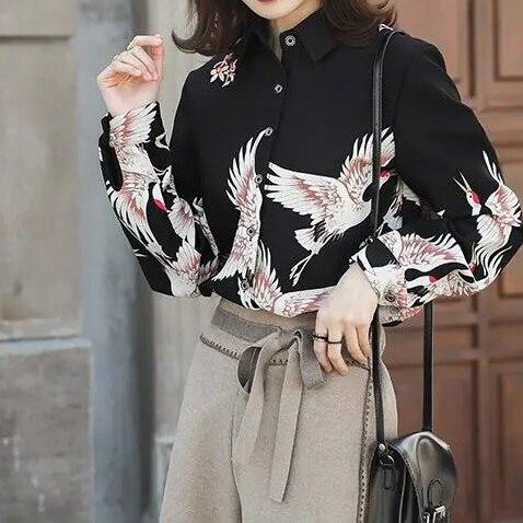 Chiffon shirt women's 2020 autumn crushed flower shirt waist long-sleeved shirt design sense minority khaki crushed velvet flounced design t shirt sweatpant bundle