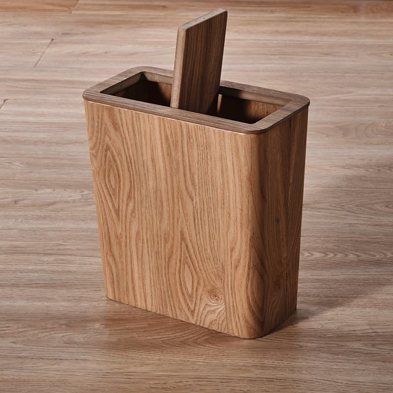 Japanese-style Wooden Trash Bin Nordic Bathroom Kitchen Square Round Rubbish Bin Toilet Office Paper Bin Garbage Can enlarge