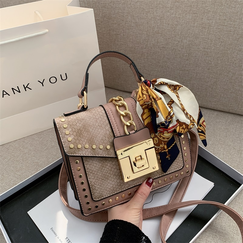 European Fashion Female Square Bag 2021 New Quality PU Leather Women's Designer Handbag Rivet Lock Chain Shoulder Messenger bags
